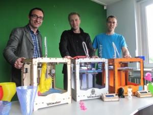 Siert Wijnia, Erik de Brujin y Martijn Elserman, cofundadores de la compañía Ultimaking Ltd